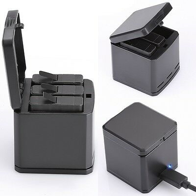 New 3 Slot Type-C LED Battery Charging Charger Storage Box Case For Gopro Hero 5