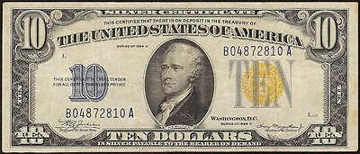 1934 A $10 Dollar Bill Silver Certificate Wwii Yellow Seal Note Currency Money