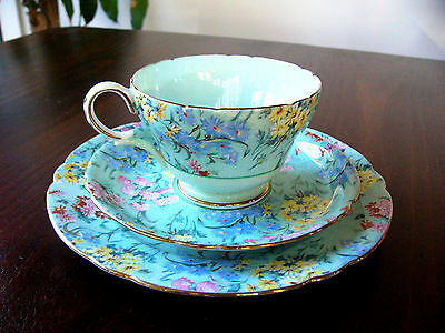 Shelley Cup, Saucer and Plate . Melody Pattern Trio . Fine Bone China .. English