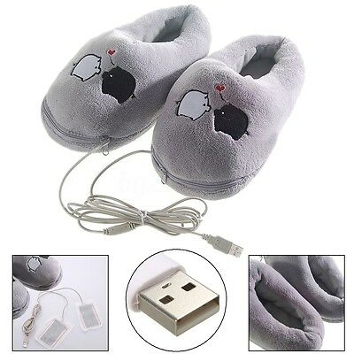 Unsex Cute Piggy Plush Cushion Soft USB Foot Warmer Heating Heated Slipper Shoes