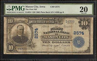 1902 $10 Dollar Bill Mason City Iowa First National Bank Note Large Currency Pmg