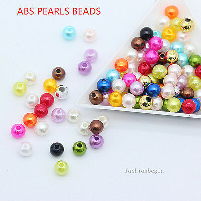 New 4mm 6mm 8mm DIY Acrylic Round pearl spacer loose beads jewelry making craft