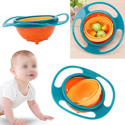 360 Degree Rotating Bowl Children No Spill Keep Balance Baby Snack Tableware CO