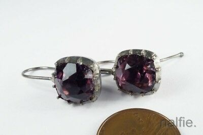 ANTIQUE ENGLISH SILVER GEORGIAN AMETHYST PASTE EARRINGS c1800