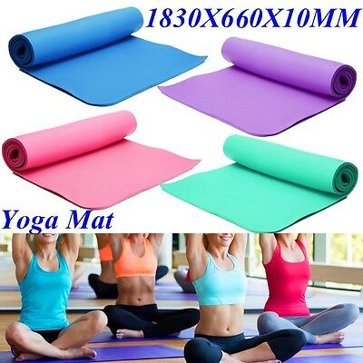 Yoga Mat Gym Exercise Fitness Workout Mat Physio Pilates Non Slip Camping 10mm