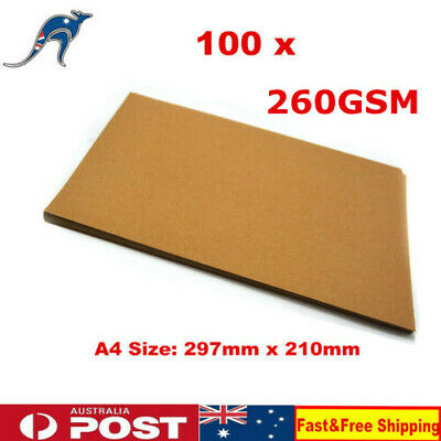 100 x A4 Brown Kraft Paper 260GSM Paperboard Natural Recycled Blank Cards