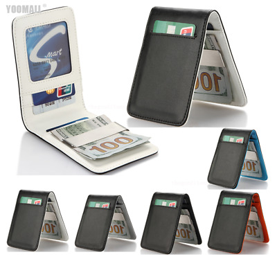 Leather Slim Wallet Silver Money Clip ID Credit Card Case Holder Christmas Gift