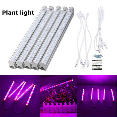 5x 30cm T5 LED Grow Bar Plant Light +Switch Cable + Plug Hydroponic Lamp 85-265V