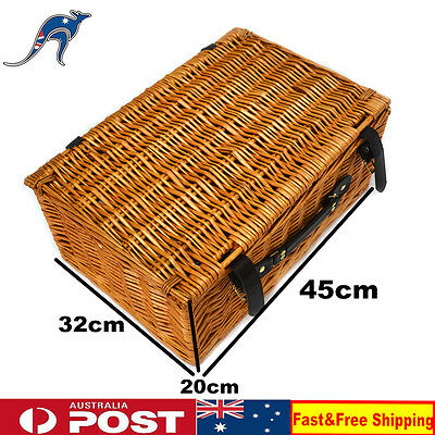 Deluxe 4 Person Picnic Basket Set Family Vintage Wicker Willow Picnic Cutlery