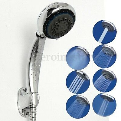 7 Mode Function Chrome Shower Head Handset Anti-limescale Large Universal