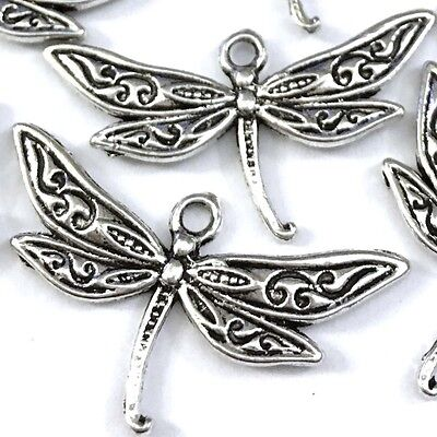 15 Antique Silver Pewter Dragonfly Charm Pendant 16x30mm