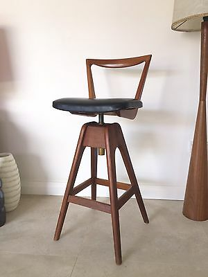 Black Vintage Th Brown Stool Mid Century Parker Eames Era