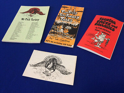 VINTAGE Set- Tom Gaskins Talk Turkey Hunting Books Postcard Stories, Tales Facts