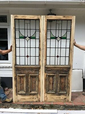 2 Stained Glass Front Doors Antique Period Reclaimed Old Wood Victorian Nouveau.