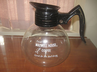 """MAXWELL HOUSE GLASS COFFEE CARAFE WITH  """" GOOD TO THE LAST DROP """" rare design"""