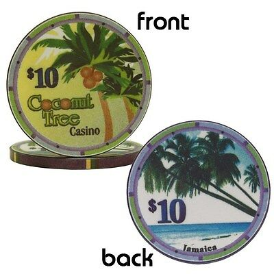 Ceramic Coconut Tree Casino Poker Chips $10 Lot of 100