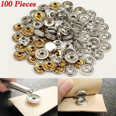 100X Metal Snap Fastener Press Studs Popper Button Leather Sew Sewing Rivet