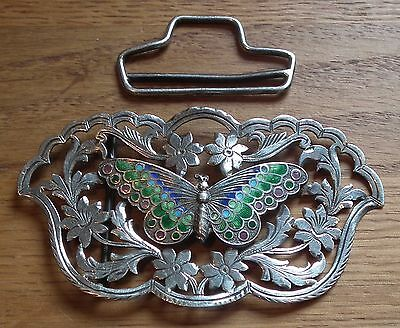 Edwardian Arts & Crafts / Nouveau Silver & Enamel Butterfly Belt / Nurses Buckle