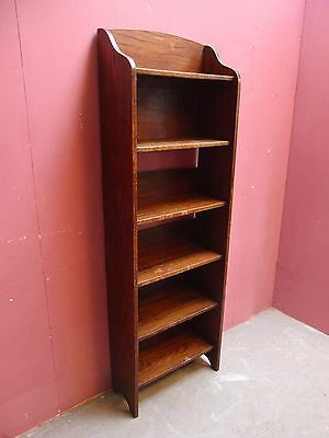 ANTIQUE 1930's TALL NARROW SOLID OAK BOOKCASE FREE-STANDING with FIVE SHELVES