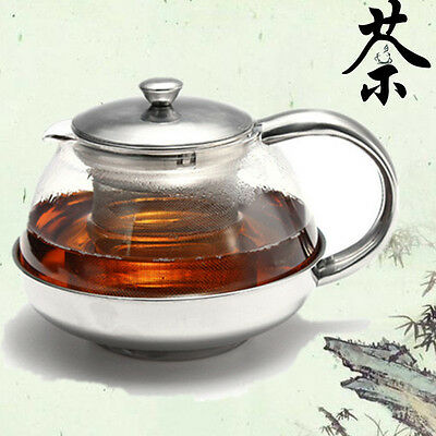 Large Stainless Steel Glass Teapot Coffee Herbal Kettle with Infuser 500-1100ML