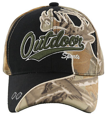OUTDOOR SPORTS DEER Shadow Hunting Ball Cap Hat Black Sand Forest Camo