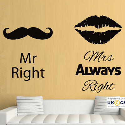 Mr Mrs Right Humour Bedroom Lips Moustache Wall Art Stickers Decal Vinyl Room