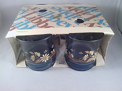 Vintage Libbey Set 4 10oz. Rocks Glasses NEW in box. Light blue with flowers