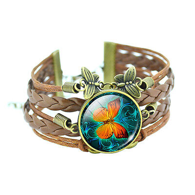 Classic Butterfly Glass Cabochon Leather Bracelet, Gifts for Her