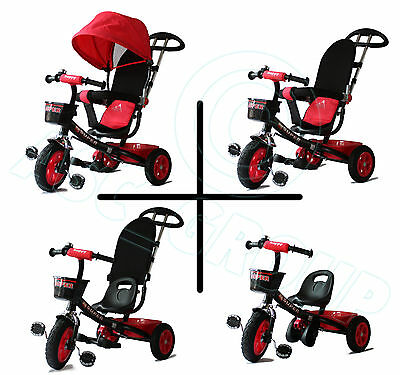 Childs 4 in 1 Trike - Black & Red - Push along / Pedal Kids Tricycle CE Approved