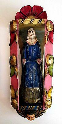 "Carved Angel Nicho & Santo Figurine Mexican Nicho, Mexican Folk Art LG 22""H"
