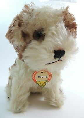 Vintage Steiff Molly Dog w Chest Tag Yellow Tag and Button Swivel Head 6.5 inch