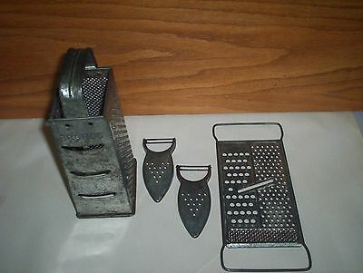 4 Vintage Items Lot : Bromco & All In One Cheese Grater & 2 M.E. HEUCK Peelers