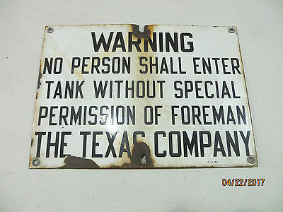 Original Porcelain The Texas Company Plate Sign, Service Station Sign