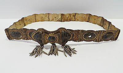 Antique Turkish Ottoman Silver Belt - Tugra, Niello - Linked, Gilt and Enamel