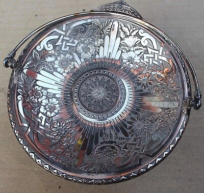 Antique James W. Tuft Silverplated Quadruple Plated Bridal Basket Tray 2752