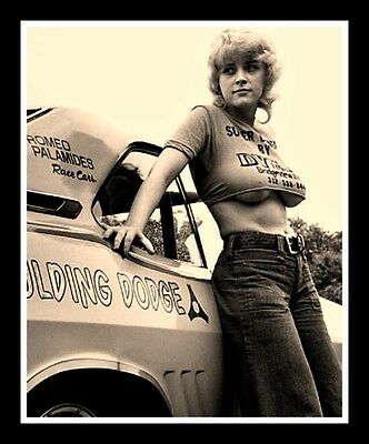"""3"""" Classic, vintage style NHRA STICKER. Pin up girl B&W Dragster, Funny car. 3in"""