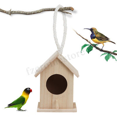 Wooden Wild Bird Nest Box Nesting Feeding Feeder Station House & Stick Garden
