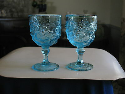 "2) Fenton LG Wright WILD ROSE WINE Goblet (s) BLUE MADONNA INN 5"" WINE Glass VGC"