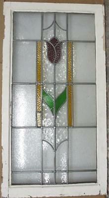 "LARGE OLD ENGLISH LEADED STAINED GLASS WINDOW Pretty Towering Floral 20.5"" x 39"""