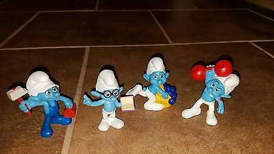"Lot of 4 The Smurfs  3"" PVC Figures Peyo 2011- 2013 figurines"
