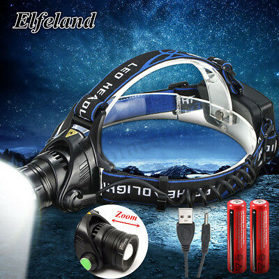 20000LM Elfeland T6 LED Zoom Headlight Headlamp 18650 Rechargeable Head Torch