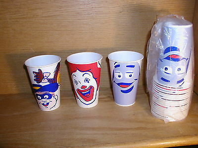 21 McDonalds Wax Paper Cups Ronald, Grimmace, Hamburgler new in pack free ship