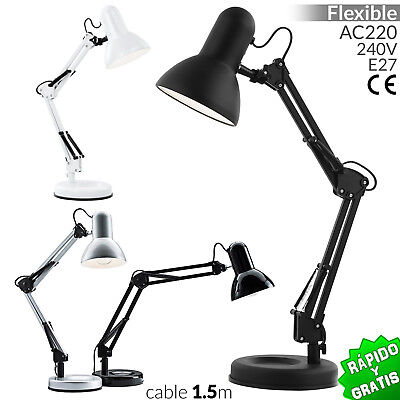 Flexo Base Arquitecto E27 Lampara De Mesa 40W Desk Lamp Escritorio Despacho