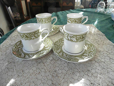 Vintage Set of 4 J&G Meakin Green Cups & Saucers Renaissance Pattern