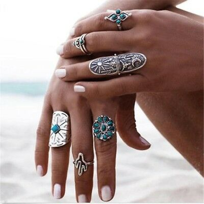9Pcs Retro Fashion Bohemia Totem Carving Flower Turquoise Rings Set