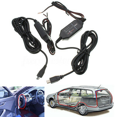 12V to 5V Hard Wire Adapter Cable Micro/Mini USB Jack For Car DVR Dash Camera