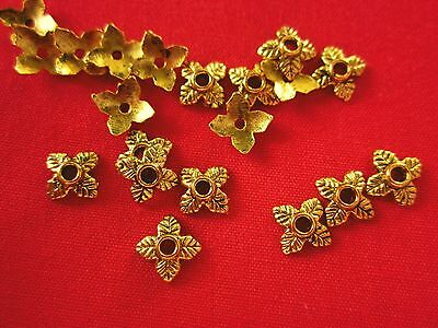 50 Leaf Bead Caps 6mm Antique Gold Coloured #bc2231 Combine Post-See Listing