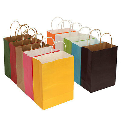S M L XL 4 Size x 10 Color Kraft Paper Bags + Handle Birthday Xmas Souvenir Gift