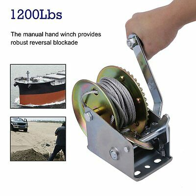 Heavy Duty 1200lbs 8 metres Cable Puller Pulling Hand Power Winch Trailer Car UK