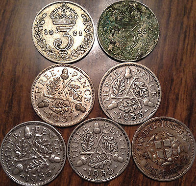1920-1942 Uk Gb Great Britain .500 Silver Threepence Lot Of 7 Coins!